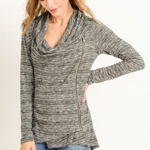GILLI Asymmetric Moto Side Zip Sweater Top Gray